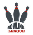 bowling league logo flat style vector image vector image