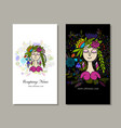 business cards design floral fairy vector image vector image