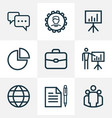 business outline icons set collection of vector image vector image