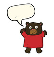 cartoon cute black bear with speech bubble vector image vector image