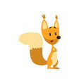 cartoon funny squirrel character standing with vector image vector image