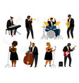 cartoon jazz band musicians vector image vector image