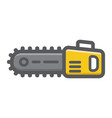 chainsaw filled outline icon build and repair vector image vector image