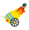 circus cannon with human cannonball icon vector image vector image
