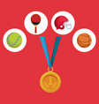 color background with golden medal first place and vector image vector image