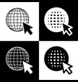 earth globe with cursor black and white vector image vector image