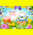 easter paschal cake eggs flowers greeting vector image vector image
