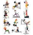 exercise equipment with people set vector image vector image