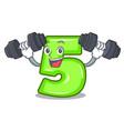 fitness character number five at wooden door vector image vector image