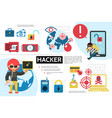 flat hacking infographic concept vector image