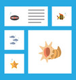 flat icon marine set of seafood scallop tuna and vector image vector image