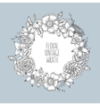 Floral vintage round wreath of flowers vector image vector image