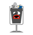 garbage monster face can with metal vector image vector image