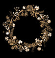 gold autumn floral wreath on black background vector image vector image
