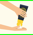 hands applying sunscreen vector image vector image