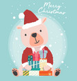happy cute brown bear wear santa claus outfit vector image vector image