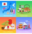 Japan Culture 4 Flat icons Square vector image