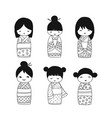 japanese dolls collection sketch for your design vector image