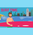 male surfer flat vector image vector image