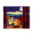 Man Camping Playing Guitar vector image vector image