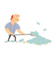 man rowing money with a shovel vector image