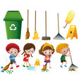 many children doing chores with different vector image vector image