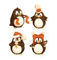 north pole cartoon penguins in warm winter cloth vector image vector image