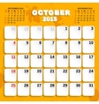 October Month Calendar 2015 vector image vector image