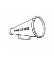 outline retro megaphone with word director vector image vector image