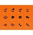 Phone icons on orange background vector image vector image