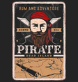 pirate poster vintage sailor captain treasure map vector image vector image