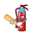 playing baseball fire extinguisher character vector image