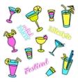 Pop art set with fashion patch badges Cocktails vector image vector image