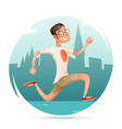running geek hipster happy sport man character vector image vector image