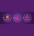 set circus neon signs vector image vector image