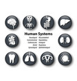 set human systems icon round glass cover vector image