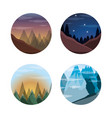set landscape with mountains and pine trees vector image vector image