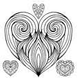 set of contour doodle hearts with the hair vector image vector image