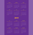 simple calendar 2019 year week starts from sunday vector image vector image