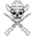 skull cowboy in western hat and crossed gun vector image