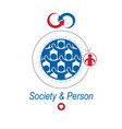 society and person interaction creative logo vector image vector image