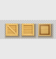 square realistic wood boxes for freight vector image