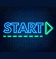 start lettering neon on a dark background vector image
