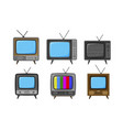 tv television set icons broadcast video vector image