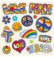 Vintage hippie patches set vector image vector image