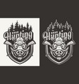 vintage hunting monochrome badge vector image vector image
