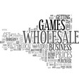 wholesale video games text word cloud concept vector image vector image