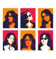 women portrait trendy flat posters of vector image vector image