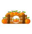 wooden basket orange on white background vector image