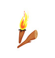 wooden torch with burning fire piece of wood vector image vector image